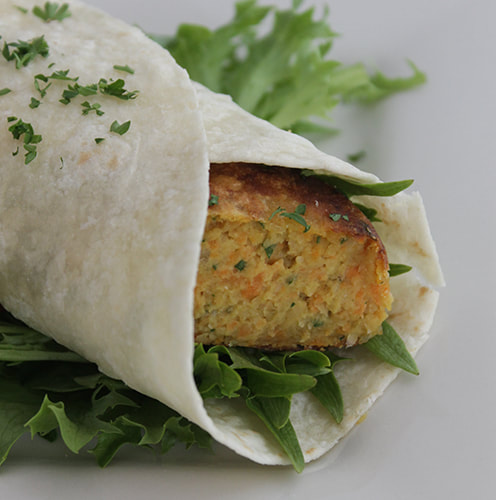 Wrap Chick Pea Patties in tortilla wraps with salad