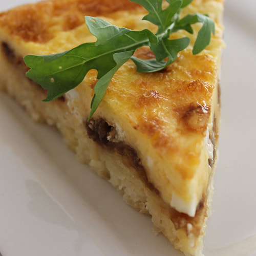 Caramelised Onion and Feta Quiche with a gluten free rice base